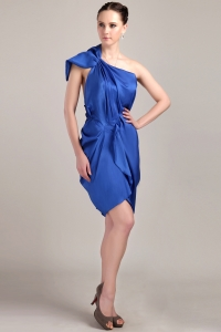Blue One Shoulder Mini-length Pleated Prom Cocktail Dresses