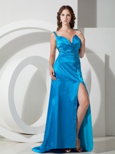 Beading Blue Straps High Slit Brush Train Pageant Dress