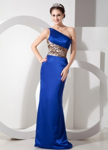 Blue Lepard One Shoulder Brush Train Evening Dress