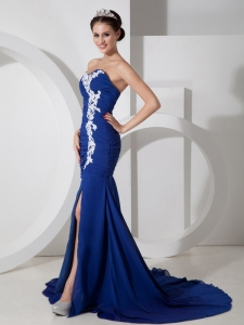 Navy Blue Appliques Side Slit Pageant Evening Dress