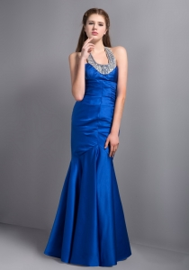 Blue Mermaid Halter Beading Pageant Evening Dress