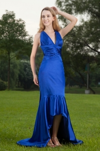 Discount Blue Mermaid V-neck Evening Celebrity Dress