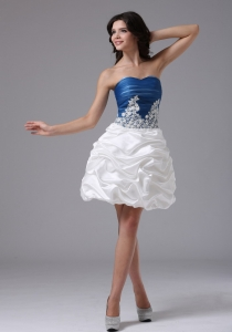 Blue and White Pick-ups Prom Homecoming Dress