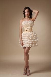 Champagne Ruffle Beading Homecoming Cocktail Dress
