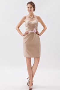 Champagne Mini-length Cocktail Graduation Prom Dress