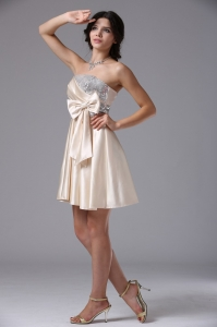 Custom Made Champagne Bowknot Sequined Prom Dresses