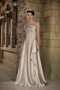Champagne One Shoulder Elastic Woven Beading Evening Dress