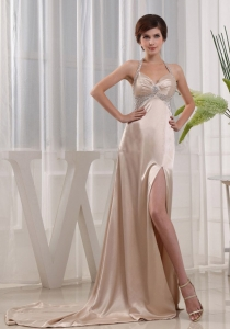 Halter-top Champagne Prom Dress With Beading And Slit