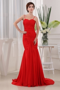 Cheap Mermaid Spaghetti Prom Dress In Red