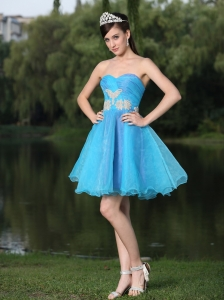 Fitted Aqua Blue Organza Prom Homecoming Dress