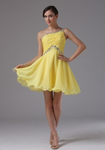 Yellow One Shoulder Beading Homecoming Prom Dress