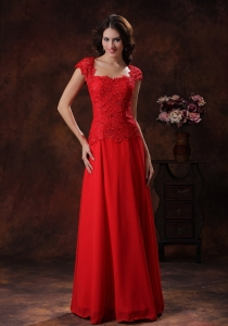 Off-the-Shoulder Red Square Lace Evening Pageant Dress