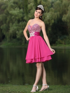 Beaded Hot Pink Prom Homecoming Short Dress