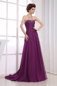Dark Purple Beaded Prom Celebrity Dress In 2013
