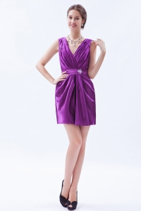 Eggplant Column V-neck Mini-length Graduation Dress