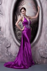 Brush Train Eggplant Purple Halter Beaded Prom Evening Dress