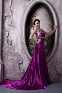 Eggplant Purple Halter Court Train Beaded Prom Evening Dress