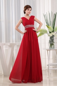 Prom Dress In Red Floor-length Beaded Chiffon