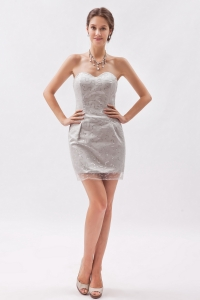 Grey Sweetheart Mini-length Sequins Cocktail Graduation Dresses