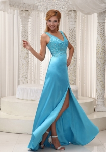 High Slit Aqua Blue Pageant Dress with Straps and Beading