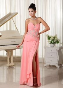High Slit Watermelon Sweetheart Evening Dress With Beading