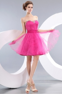 Sweetheart Hot Pink Mini-length Beading Cocktail Dresses