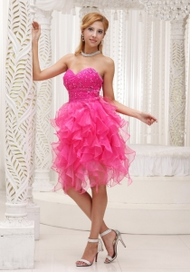 Ruffle Sweetheart Hot pink Beaded Prom Cocktail Dress