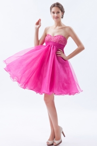 Hot pink A line Mini-length Beading Cocktail Prom Dress