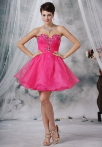 Sweetheart Hot Pink Mini-length Beaded Homecoming Dress