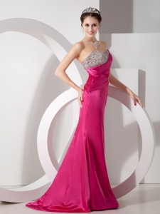 Fuchsia Beading Promg Pageant Dress For Graduation