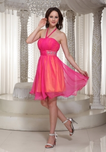 Halter Hot Pink Prom Dress With Beaded Sash