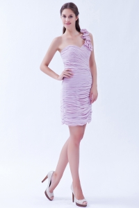Lavender One Shoulder Mini-length Ruched Cocktail Dress
