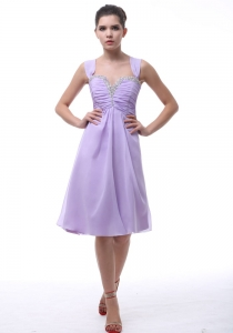Lavender Straps Prom Dress with Beading and Ruch Knee-length