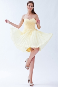 Light Yellow Sweetheart Knee-length Cocktail Holiday Dress