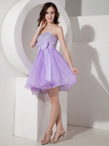 Lilac Sweetheart Mini-length Beading Prom Homecoming Dress