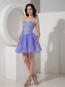 Lilac Sweetheart Mini-length Organza Beading Prom Dress