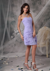 Lilac Column Ruch Knee-length Prom Dress for Homecoming