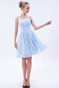 Knee-length Lilac Straps Chiffon Ruch Prom Cocktail Dresses