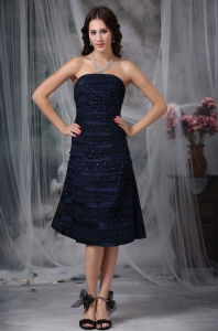 Navy Blue A-line Strapless Tea-length Graduation Cocktail