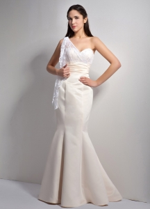 One Shoulder Mermaid Lace Pageant Evening Dress