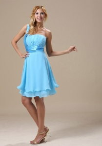 One Shoulder Aqua Blue Ruched Knee-length Prom Dress