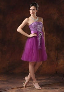 Paillette Purple Knee-length Prom Homecoming Sashes/Ribbons