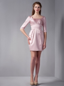 Pink Square Mini-length Taffeta Ruch Cocktail Dress