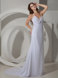 Halter White Court Train Pageant Evening Dress