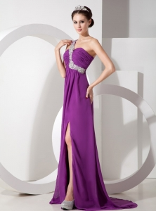 One Shoulder Purple Beading Side Slit Prom Pageant Dress