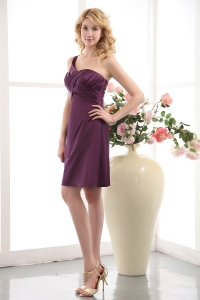 Purple One Shoulder Mini-length Ruched Prom Cocktail Dresses