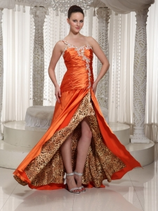 High Slit One Shoulder Appliques Orange Beaded Evening Dress