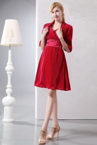 Red Sweetheart Knee-length Prom Cocktail Dress Sepcial Fabric