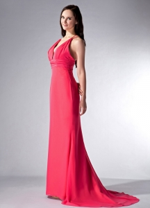 Red V-neck Brush Train Chiffon Pageant Evening Dress