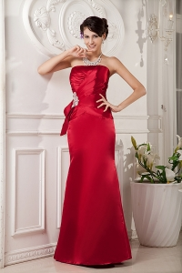 Red Column Shimmering Beading Prom Evening Dress